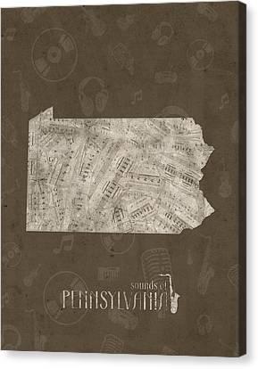 Northeastern Canvas Print - Pennsylvania Map Music Notes 3 by Bekim Art