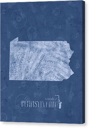 Northeastern Canvas Print - Pennsylvania Map Music Notes 5 by Bekim Art
