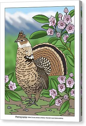 Pennsylvania State Bird Grouse And Flower Laurel Canvas Print by Crista Forest