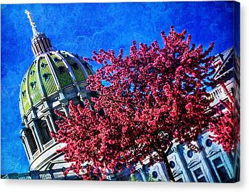 Canvas Print featuring the photograph Pennsylvania State Capitol Dome In Bloom by Shelley Neff