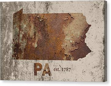 Cement Canvas Print - Pennsylvania State Map Industrial Rusted Metal On Cement Wall With Founding Date Series 011 by Design Turnpike