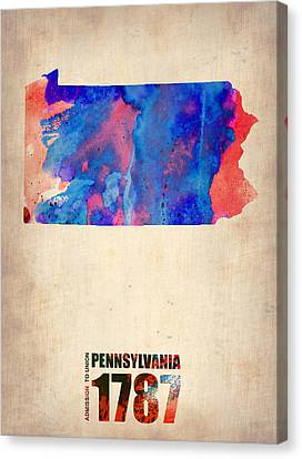 Pennsylvania Watercolor Map Canvas Print by Naxart Studio