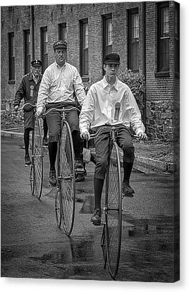 Penny Farthing Bikes Bw Canvas Print by Rick Mosher