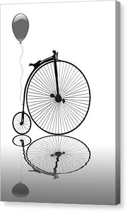 Penny Farthing Reflections Mono Canvas Print