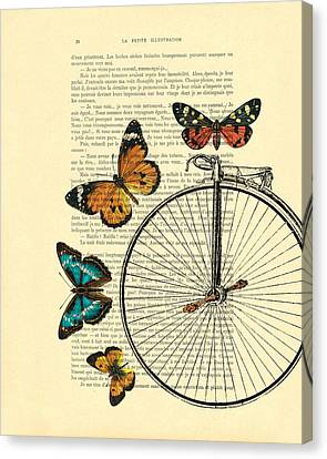 Penny Farthing With Butterflies Canvas Print