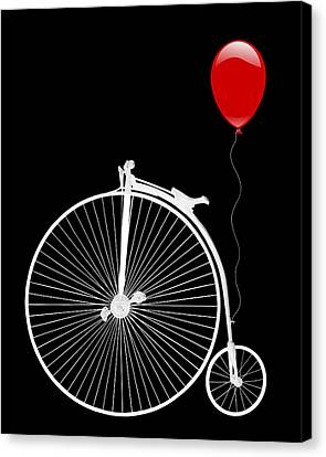 Penny Farthing With Red Balloon On Black Canvas Print