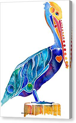 Sea Birds Canvas Print - Penny Pelican by Jo Lynch