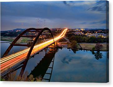 Canvas Print featuring the photograph Pennybacker Bridge At Dusk by John Maffei