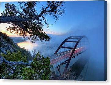 Pennybacker Bridge In Morning Fog Canvas Print by Evan Gearing Photography
