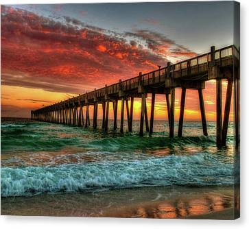 Pensacola Beach Pier Sunset Canvas Print