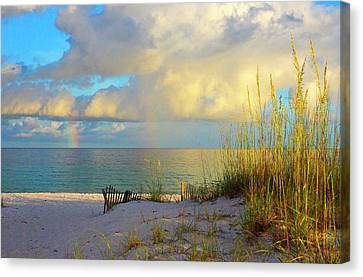 Pensacola Rainbow At Sunset Canvas Print by Marie Hicks