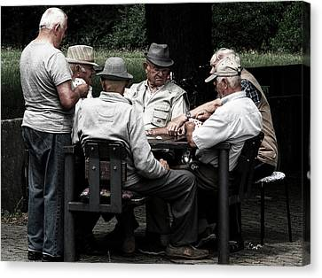 Old Grandfather Time Canvas Print - Pensioners Card Game by Mountain Dreams