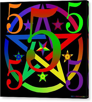 Penta Pentacle In Black Canvas Print