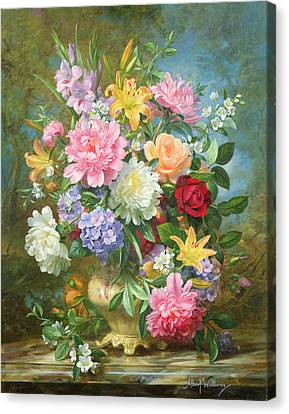 Peonies And Mixed Flowers Canvas Print by Albert Williams