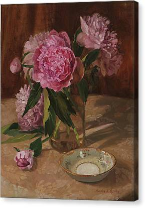 Peonies And Noritaki Canvas Print by Sandra Quintus