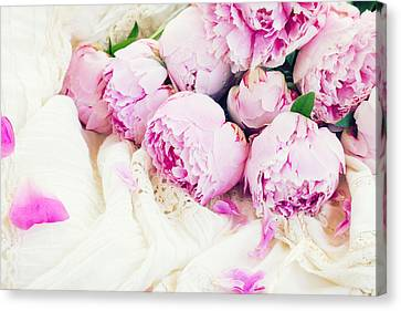Peonies And Wedding Dress Canvas Print by Anastasy Yarmolovich