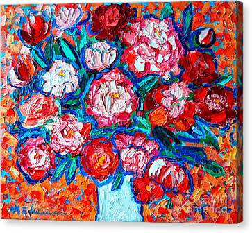 Peonies Bouquet Canvas Print by Ana Maria Edulescu
