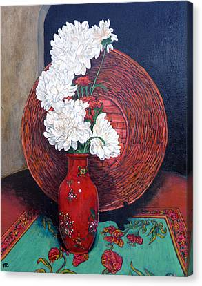 Canvas Print featuring the painting Peonies For Nana by Tom Roderick