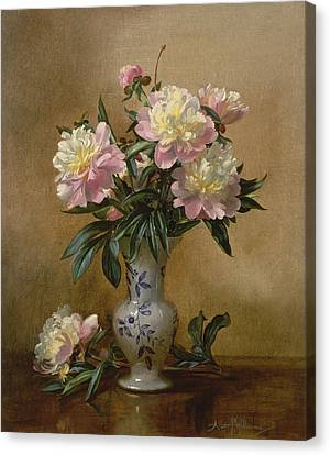 Peonies In A Blue And White Vase Canvas Print