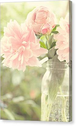 Peonies In A Mason Jar Canvas Print by Kim Fearheiley