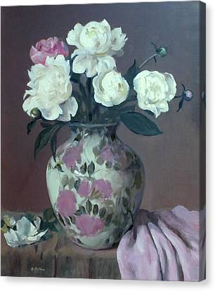 One Pink And Four White Peonies,lavender Cloth  Canvas Print