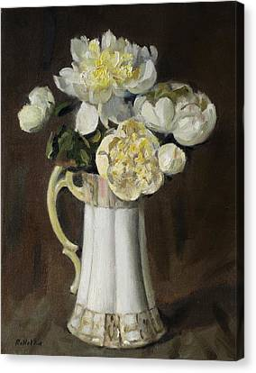 Peonies In Fluted Japanese Coffeepot Canvas Print