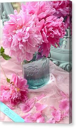 Mason Jars Canvas Print - Peonies Aqua Mason Jar - Summer Garden Peonies Ball Jar - Romantic Peonies Aqua Pink Decor by Kathy Fornal