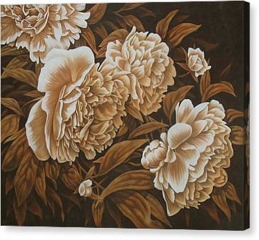 Peonies In Sepia Canvas Print by Karen Coombes