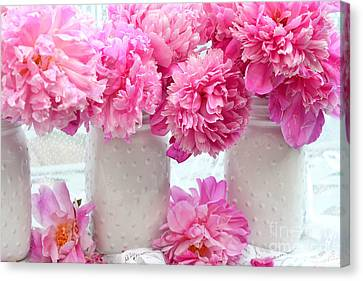 Peonies In White Mason Jars - Romantic Bright Pink Peonies  Canvas Print by Kathy Fornal