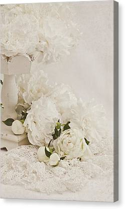 Country Magazine Decor Canvas Print - Peonies In White  by Sandra Foster