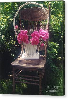 With Canvas Print - Peonies In White Vintage Basket - Shabby Cottage Chic Garden Vintage Chair Basket Of Peonies by Kathy Fornal