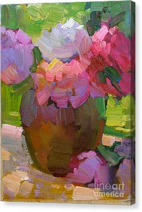 Peonies Canvas Print by Marsha Heimbecker