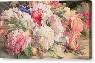 Peonies Canvas Print by William Jabez Muckley