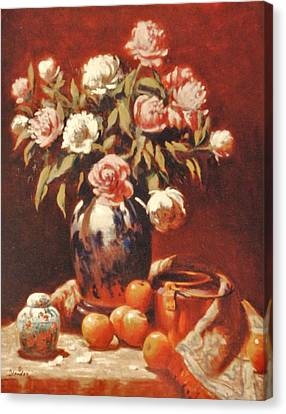 Peonies With Ginger Jar Canvas Print by David Olander