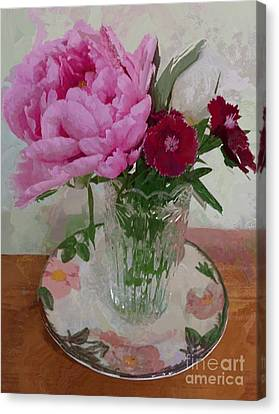 Canvas Print featuring the digital art Peonies With Sweet Williams by Alexis Rotella