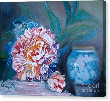 Canvas Print featuring the painting Peony And Chinese Vase by Jenny Lee