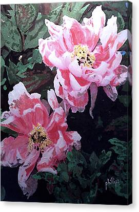 Canvas Print featuring the painting Peony Blooms by Jim Phillips