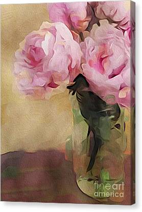 Canvas Print featuring the digital art Peony Bouquet by Alexis Rotella