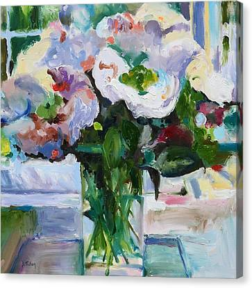Peony Bouquet Impressionism Painting In Square Format Canvas Print