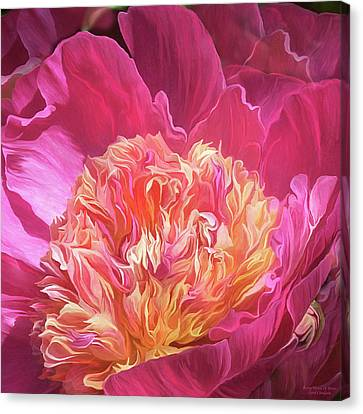 Canvas Print featuring the mixed media Peony - Flower Of Desire by Carol Cavalaris