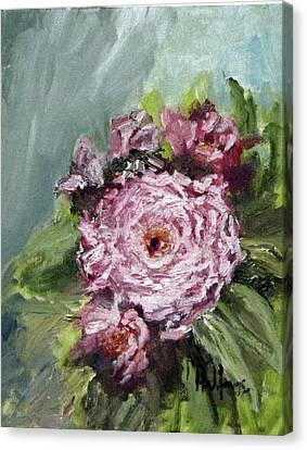 Peony In Bloom Canvas Print by Michael Helfen