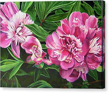 Canvas Print featuring the painting Peony Trilogy by Lee Nixon