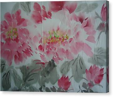 Peony5 Canvas Print by Dongling Sun