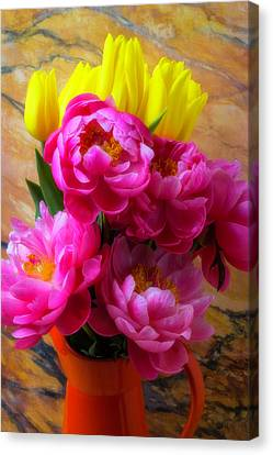 Peony's And Tulips In Pitcher Canvas Print by Garry Gay