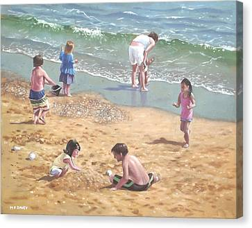 people on Bournemouth beach kids in sand Canvas Print by Martin Davey