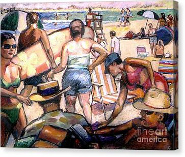 People On The Beach Canvas Print by Stan Esson