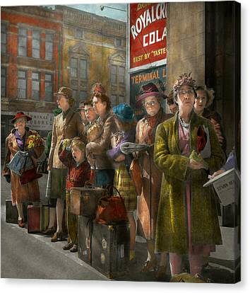Old Bus Stations Canvas Print - People - People Waiting For The Bus - 1943 by Mike Savad