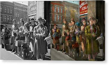 Old Bus Stations Canvas Print - People - People Waiting For The Bus - 1943 - Side By Side by Mike Savad