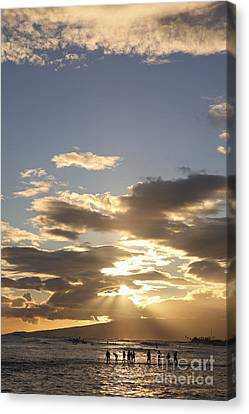 People Silhouette Sunset Canvas Print by Brandon Tabiolo - Printscapes