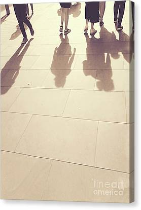 Canvas Print featuring the photograph People Walk The Golden Path by Rebecca Harman